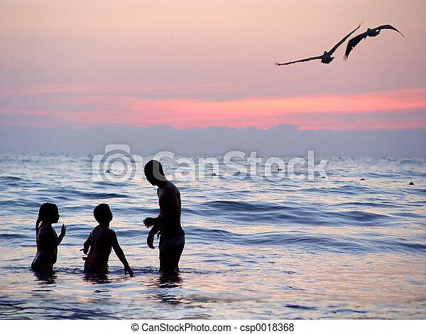 Beach at sunset - csp0018368