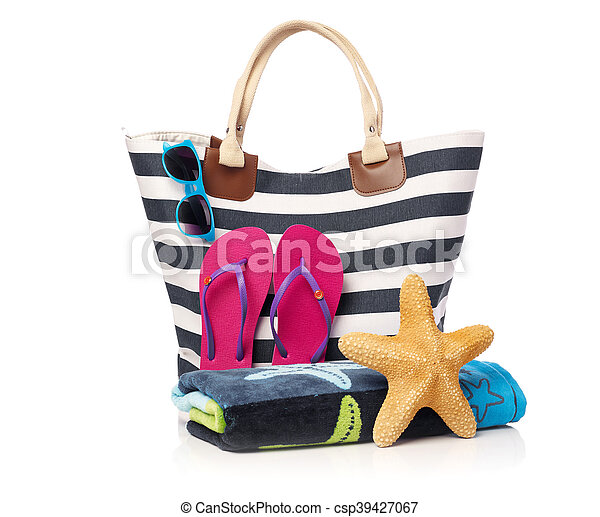 Beach bag and beach items - csp39427067