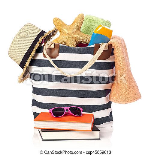 Beach bag and leisure items - csp45859613