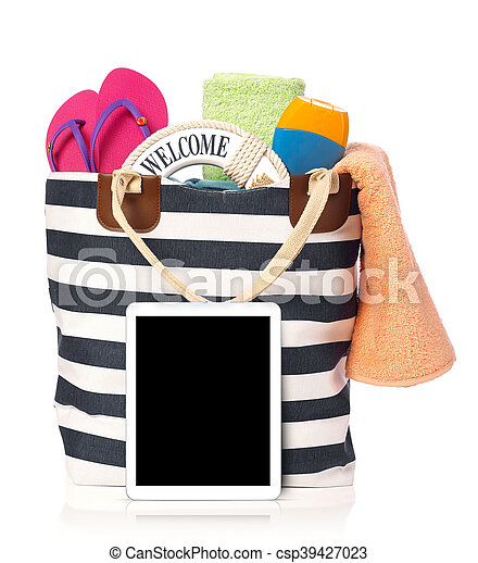 Beach bag and tablet - csp39427023