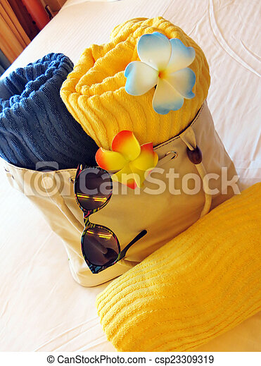 Beach bag and towels - csp23309319
