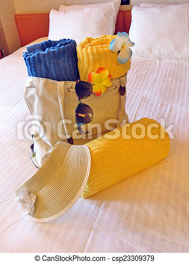 Beach bag and towels - csp23309379