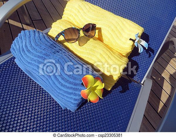 Beach bag and towels - csp23305381