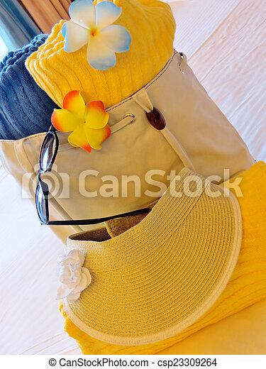 Beach bag and towels - csp23309264