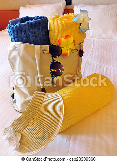 Beach bag and towels - csp23309360