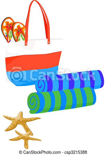 beach bag with towels and starfish rh canstockphoto com beach towel pictures clip art