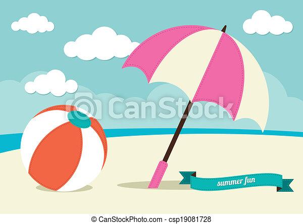 beach ball and sun umbrella vector illustration - search clipart
