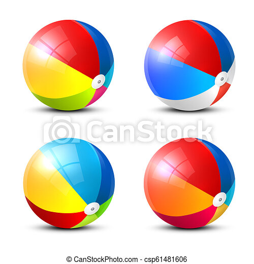 Beach Ball Icon. Colorful Vector Inflatable Balls Set Isolated on White Background. - csp61481606