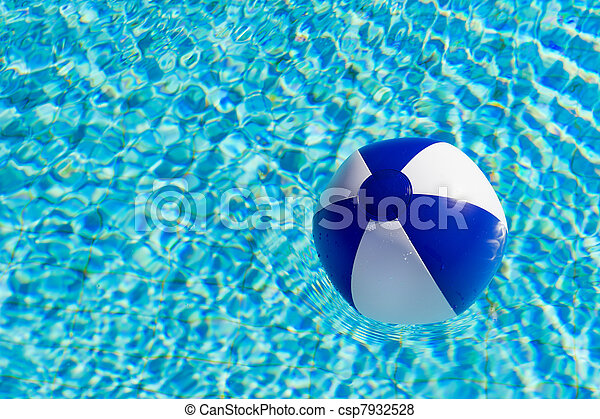 Beach Ball In Pool Intended Beach Ball In Swimming Pool Csp7932528 Pool Blue And White Beach Clear