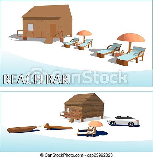 Beach bar and luxury car - csp23992323
