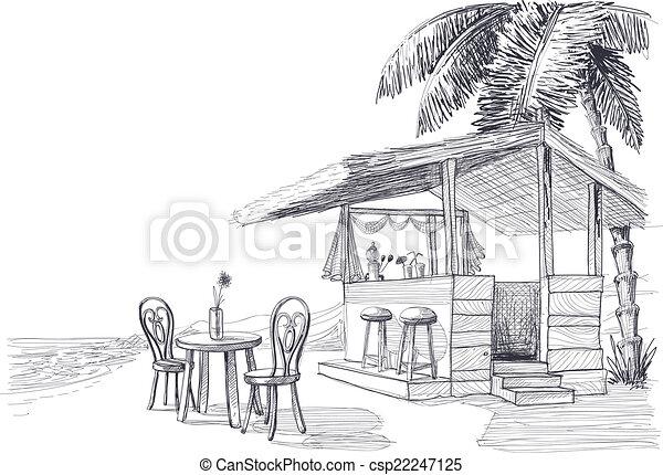 Beach bar vector sketch - csp22247125