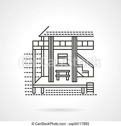 Beach Bungalow Flat Line Vector Icon
