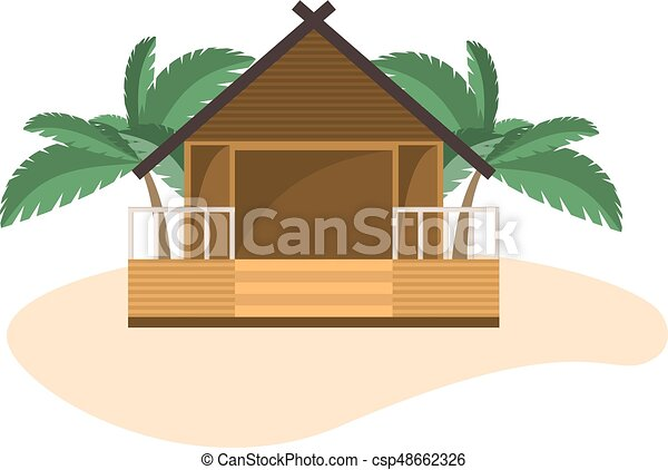 Beach Bungalow On Small Island With Palms Isolated Object White Background Vector
