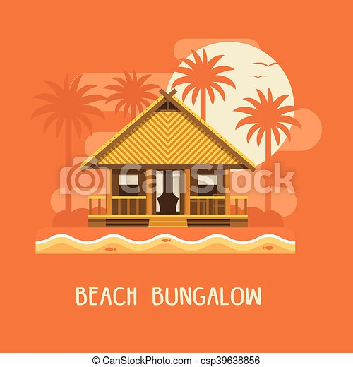 Beach Bungalow Poster Summer By Sunset Clipart