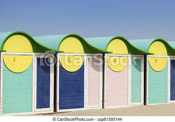 Beach cabins in Dunkirk - csp61393144
