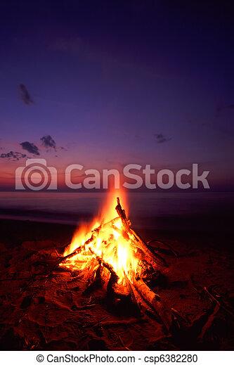 Beach Campfire - csp6382280
