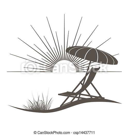 beach chair and sunshade illustration with a beautiful view to the sea - csp14437711