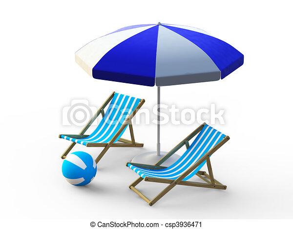 Beach Chair And Umbrella Stock Illustration
