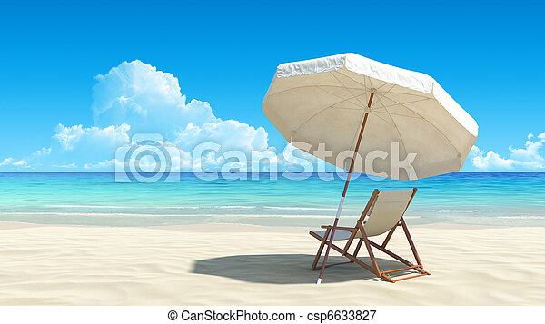 Beach chair and umbrella on idyllic tropical sand beach - csp6633827