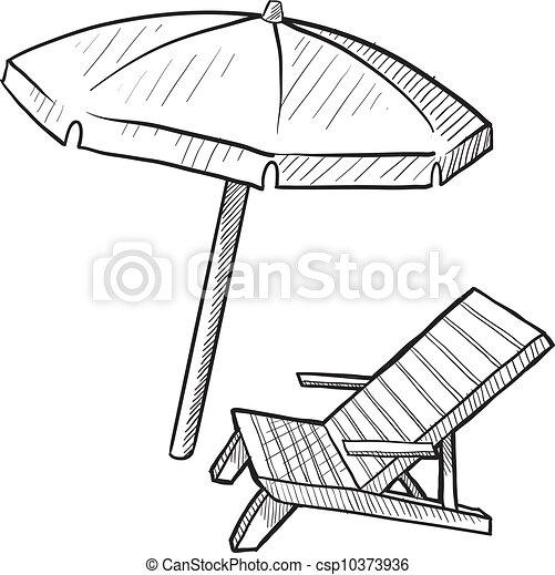 beach chair and umbrella sketch doodle style beach chair and