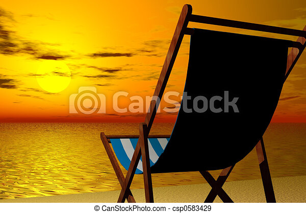 3d render illustration of beach chair detail in sunset beach