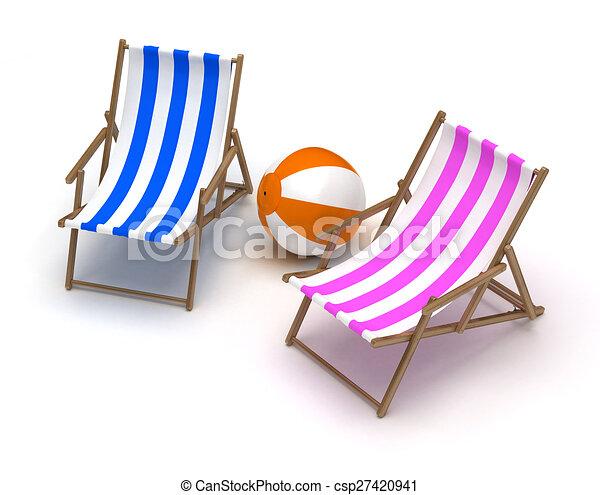 Beach Chairs and Beach Ball - csp27420941