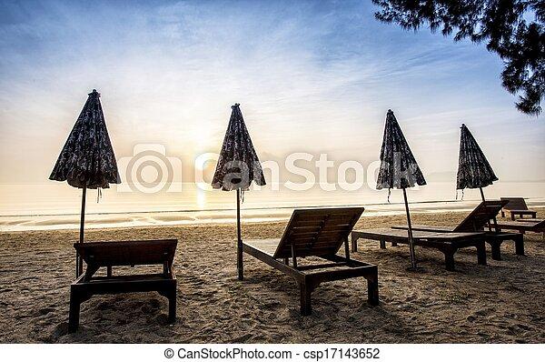 Beach Chairs at Sunset  - csp17143652
