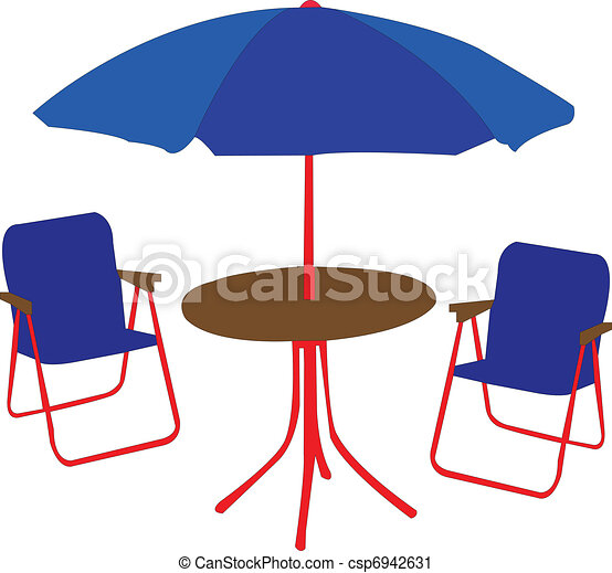 Beach Chairs, Table And Umbrella Vector