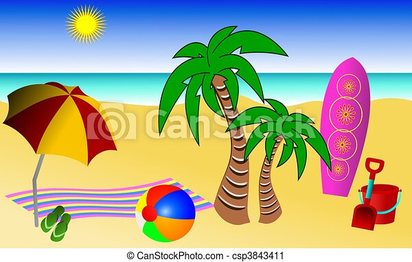 Beach Illustration Of A Typical Fun Day At The Beach The