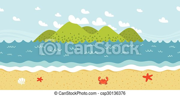 Beach coast landscape vector seamless pattern - csp30136376