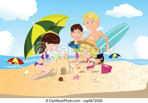 Beach Family Vacation Vector