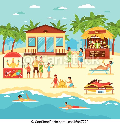 Beach Flat Style Illustration - csp46047772