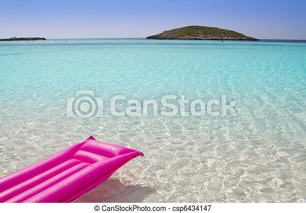 beach floating lounge pink tropical sea Formentera - csp6434147