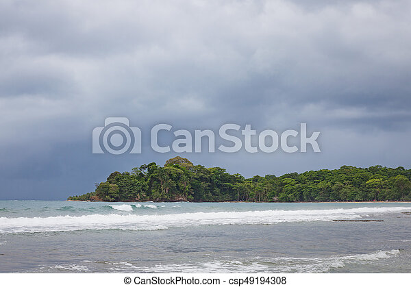 Beach forest and storm sky - csp49194308