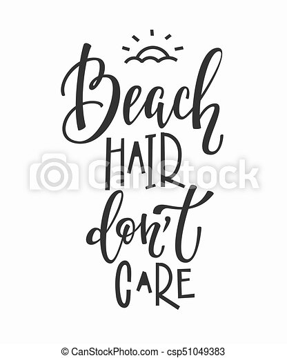 Beach Hair Dont Care T Shirt Quote Lettering