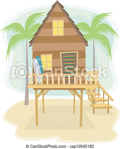 Illustration Of A Beach House With Surfboards Resting On The