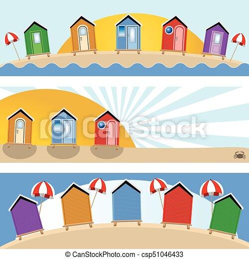 beach hut banners - csp51046433