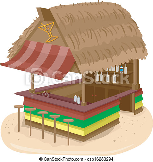Illustration Of A Beach Hut Bar Serving Alcoholic Drinks Eps