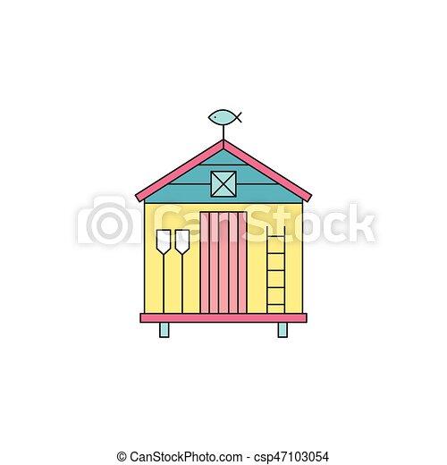 Beach hut line icon - csp47103054