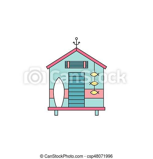 Beach hut line icon - csp48071996