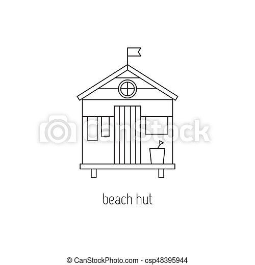 Beach hut line icon - csp48395944
