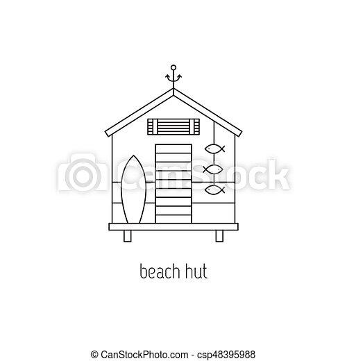 Beach hut line icon - csp48395988