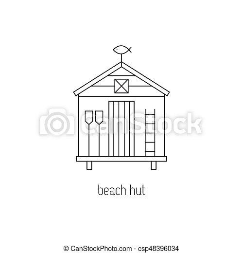 Beach hut line icon - csp48396034