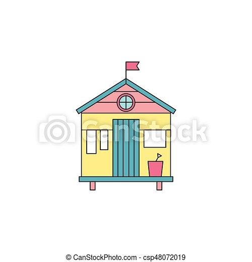 Beach hut line icon. Beach hut vector thin line icon ...