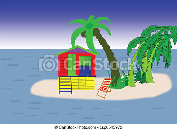 beach hut on island - csp6545972