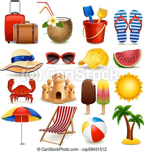 Beach icons - csp59431512