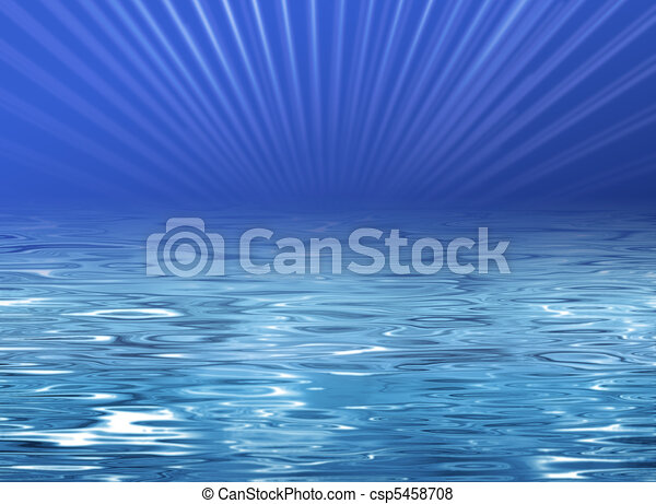 Beach illustration - blue water - csp5458708