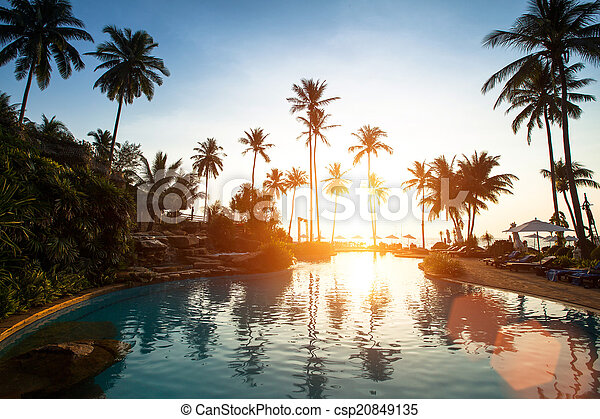 Beach in the tropics, beautiful sunset. - csp20849135