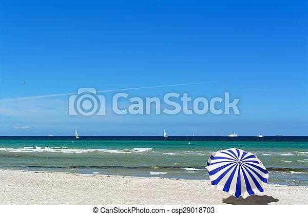 Beach in Warnemuende, Germany - csp29018703