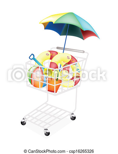 Beach Items for Summertime in Shopping Cart - csp16265326